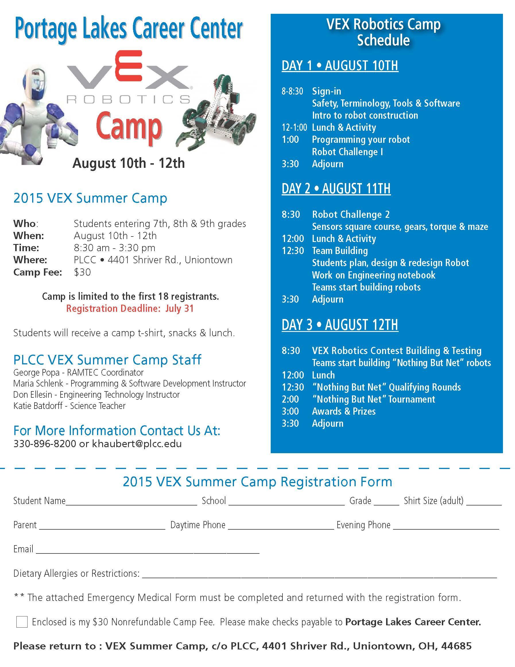 VEX Robotics Camp @ Portage Lakes Career Center   Uniontown   Ohio   United States